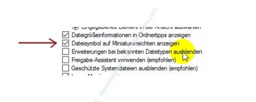 Alle Dateien im Windows Explorer anzeigen lassen – Explorer, Ordneroptionen, Dateisymbol auf Miniaturansichten anzeigen