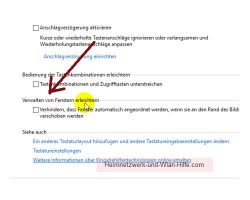 Windows 10 - Die Snap-Funktion zum Andocken von Windows-Fenstern nutzen – Die Option: Verwalten von Fenstern erleichtern