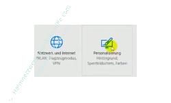 Windows 10 - Die Hintergrundtransparenz aktivieren oder deaktivieren – Menü Einstellungen, Menüpunkt Personalisierung