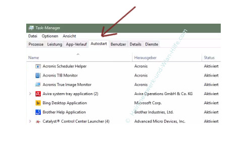 Windows 10 - Den Systemstart beschleunigen – Task-Manager, Register Autostart