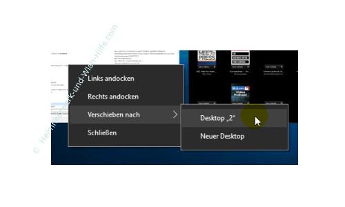 Windows 10 - Virtuelle Desktops nutzen – Geöffnete Programme zwischen den genutzten Desktops verschieben