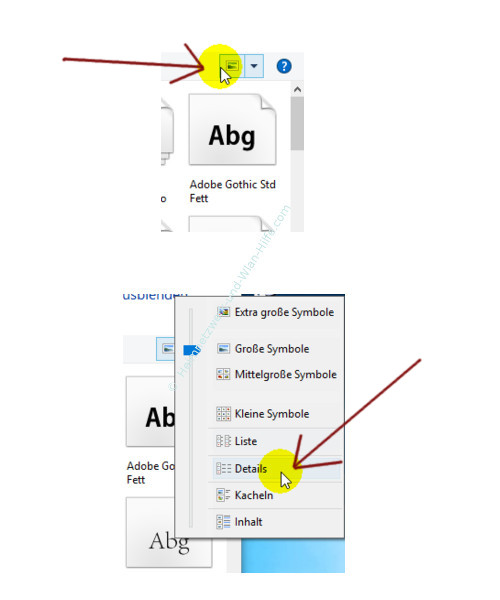 Windows 10 - Tutorial - Überflüssige Schriftarten für ein schnelleres System entfernen – Die Schriftartenansicht Details auswählen title=