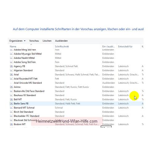 Windows 10 - Tutorial - Überflüssige Schriftarten für ein schnelleres System entfernen – Die Detailansicht aller installierten Schriftarten