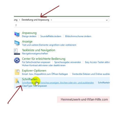 Windows 10 - Tutorial - Überflüssige Schriftarten für ein schnelleres System entfernen – Das Untermenü Schriftarten im Menü Darstellung und Anpassung