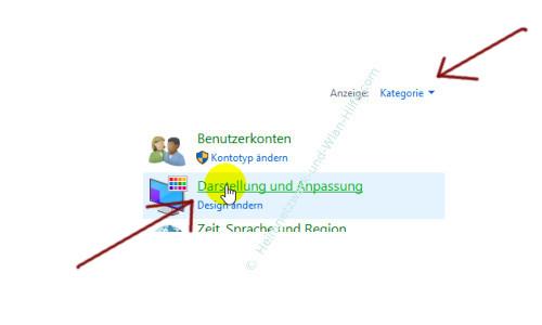 Windows 10 - Tutorial - Überflüssige Schriftarten für ein schnelleres System entfernen – Menupunkt Darstellung und Anpassung in der Kategorieansicht der Systemsteuerung