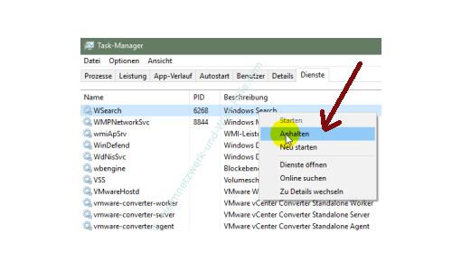 Übersicht über die Funktionen des neuen Windows 10 Task-Managers – Einen Dienst anhalten