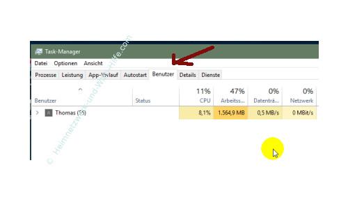 Übersicht über die Funktionen des neuen Windows 10 Task-Managers – Register Benutzern