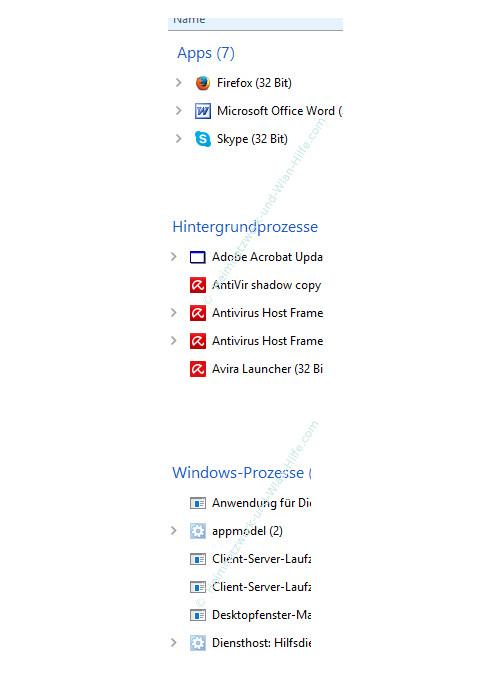 Übersicht über die Funktionen des neuen Windows 10 Task-Managers – Die Untergliederung der Prozesse in Kategorien