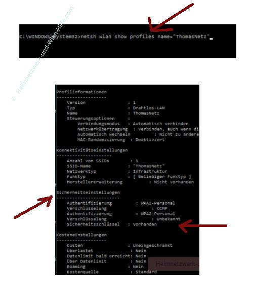 Windows 10 Tutorial - Wlan-Einstellungen und Wlan-Passwort anzeigen lassen – Die Wlan-Eigenschaften der Drahtlosnetzwerkverbindung mit netsh anzeigen lassen