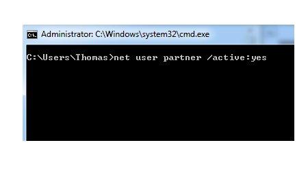 Windows 7 Benutzerkonten schnell aktivieren und deaktivieren - Benutzerkonto mit net user Befehl aktivieren