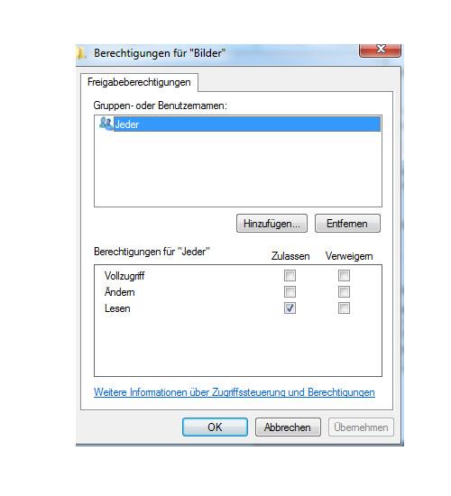 Heimnetzwerk Anleitungen: Die Windows-Heimnetzgruppe im eigenen Computernetzwerk nutzen - Windows 7 - Berechtigungen für eine Freigabe vergeben