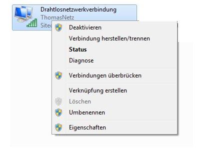 Windows Netzwerk Anleitungen und Tutorials: Auf Windows 7 Ordner und Dateien gemeinsam zugreifen - Eigenschaften der Netzwerkverbindung