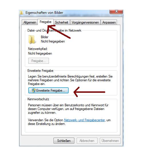 Heimnetzwerk Tutorial: Sichere Windows-Freigaben verwenden - Über das Eigenschaftenfenster eines Ordners die erweiterten Freigabeoptionen öffnen