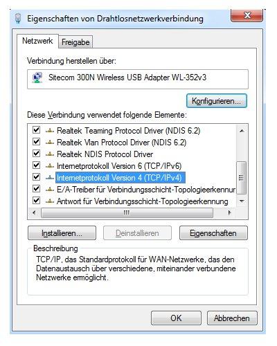 Windows 7 Heimnetzwerk Tutorial:  Eigenschaftsfenster der Netzwerkverbindung