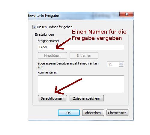 Heimnetzwerk Tutorial: Sichere Windows-Freigaben verwenden - Einen Namen für die Freigabe des Ordners vergeben