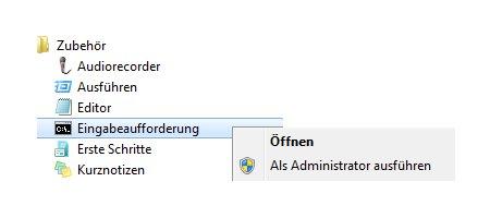 Netzwerk Anleitung: Kennwortänderung mit net accounts - Windows 7 Start - Alle Programme - Zubehör - Eingabeaufforderung
