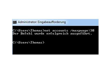 Netzwerk Anleitung: Kennwortänderung mit net accounts - Eingabeaufforderung - net accounts - Passwort auf 30 Tage festlegen