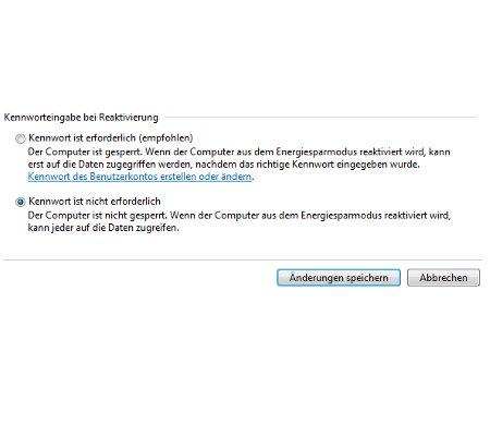 Windows Aleitungen und Tutorials: Reaktivierungskennwort des Windows 7 Ruhezustandes deaktivieren - Windows 7 Energieoptionen  Kennworteinstellungen speichern
