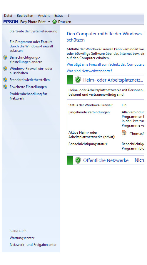 Heimnetzwerk Tutorials: Wichtige Sicherheitskonfigurationen in deinem Computer-Heimnetzwerk - Windows 7 Konfigurationsfenster der Windows Firewall