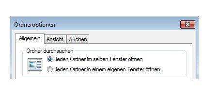 Windows Anleitungen und Tutorials: Windows 7 Ordner in einem eigenen Fenster öffnen - Windows 7 Ordneroptionen - Jeden Ordner im selben Fenster öffnen