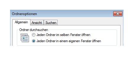Windows Anleitungen und Tutorials: Windows 7 Ordner in einem eigenen Fenster öffnen - Windows 7 Ordneroptionen - Jeden Ordner in einem eigenen Fenster öffnen