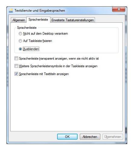 Windows Anleitungen: Die Windows 7 Sprachenleiste deaktivieren - Windows 7 Sprachenleiste - Option Ausblenden