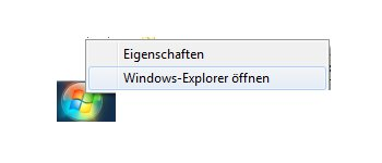 Heimnetzwerk Anleitungen: Windows 7 Zugriff auf freigegebene Ordner und Dateien - Windows Exlorer über Startbutton öffnen