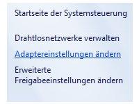 Windows Netzwerk Anleitungen und Tutorials: Auf Windows 7 Ordner und Dateien gemeinsam zugreifen - Systemsteuerung - Adaptereinstellungen ändern