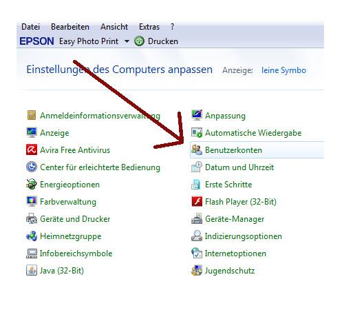 Heimnetzwerk Tutorial: Sichere Windows-Freigaben verwenden - Die Kategorie Benutzerkonten in der Windows 7 Systemsteuerungsübersicht
