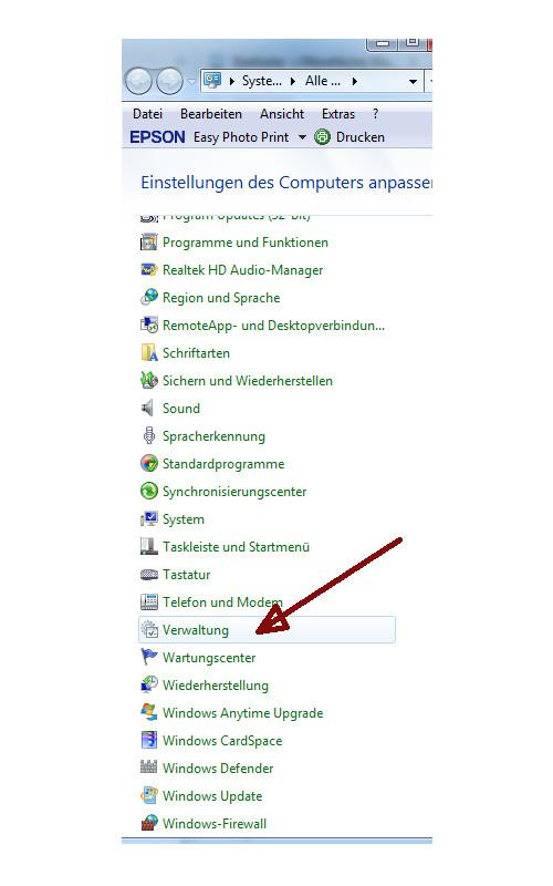 Heimnetzwerk Tutorial: Sichere Windows-Freigaben verwenden - Windows 7 Systemsteuerung Menüpunkt Verwaltung