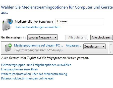 Heimnetzwerk Anleitungen: Multimedia im Windows 7 Heimnetzwerk - Medienstreamingoptionen anpassen