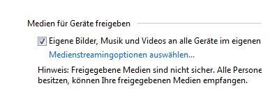 Heimnetzwerk Anleitungen: Multimedia im Windows 7 Heimnetzwerk - Medienstreamingoptionen wählen
