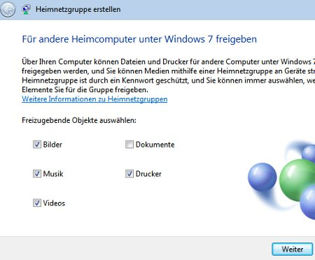 Heimnetzwerk Tutorials: Windows 7 Heimnetzwerk erstellen - Freigaben für Heimnetzgruppe wählen