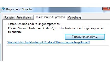 Windows Anleitungen: Die Windows 7 Sprachenleiste wieder aktivieren - Windows 7 Systemsteuerung - Region und Sprache - Register Tastaturen und Sprache