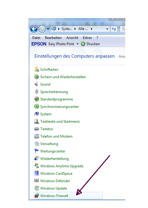 Netzwerk Tutorial: Netzwerkproblem! Es werden keine anderen Computer in der Netzwerkumgebung angezeigt! Systemsteuerung Menüeintrag Windows Firewall