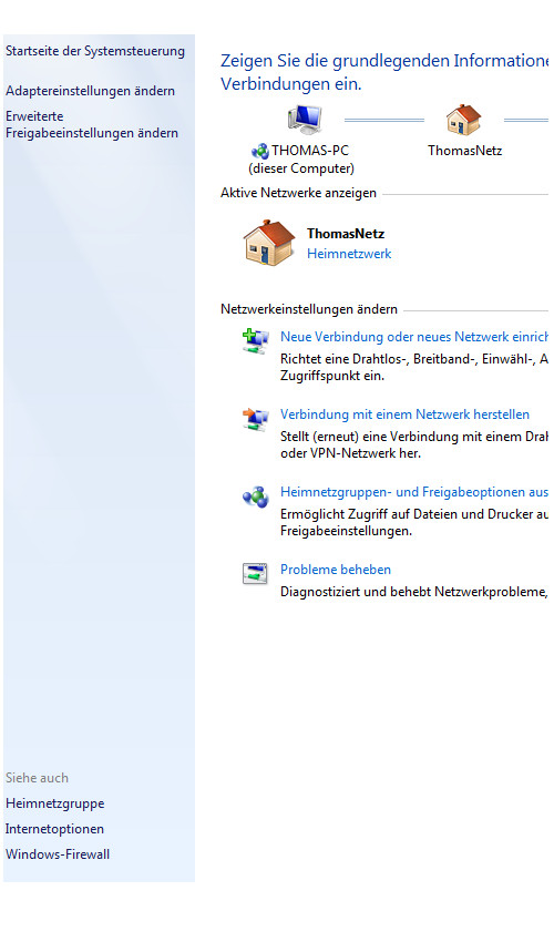Heimnetzwerk Anleitungen: Die Windows-Heimnetzgruppe im eigenen Computernetzwerk nutzen - Windows 7 - Übersicht Netzwerk- und Freigabecenter