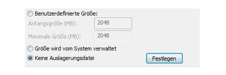 Die Windows 7 Auslagerungsdatei anpassen - Option, Keine Auslagerungsdatei festlegen