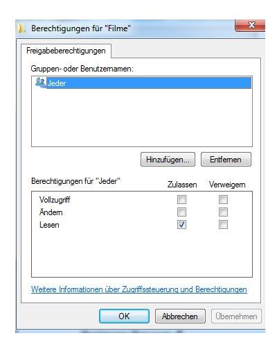 Heimnetzwerk Tutorials: Windows 7 Dateien und Drucker freigeben - Berechtigungen für Freigabe vergeben