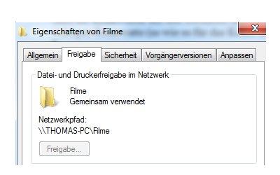 Heimnetzwerk Tutorials: Windows 7 Dateien und Drucker freigeben - Pfadanzeige des freigegebenen Ordners