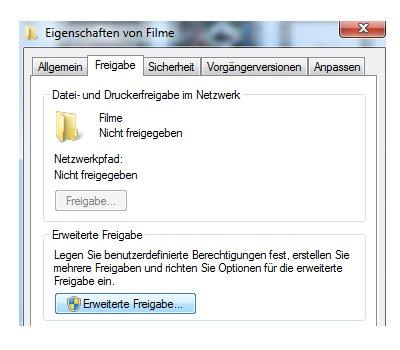 Heimnetzwerk Tutorials: Windows 7 Dateien und Drucker freigeben - Register Freigabe