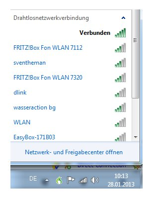 Windows 7 WLAN Netzwerk auswählen