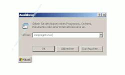Anleitung: Windows Benutzerkonto einrichten - Eingabe von compmgmt.msc in das Eingabefeld
