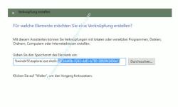 Windows 10 - Alle installierten Apps, Programme und Kacheln zusammen anzeigen – Fenster Verknüpfung erstellen, Verknüpfungsziel eingeben