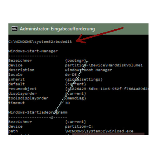 Windows 10 Tutorial - Das Bootmenü mit dem Bootmanager bcdedit konfigurieren – Der Befehl bcdedit