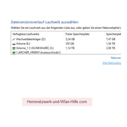 Windows 10 Dateiversionverlauf-Sicherung für das Speichern von Dateien nutzen – Speichermöglichkeiten im Netzwerk anzeigen