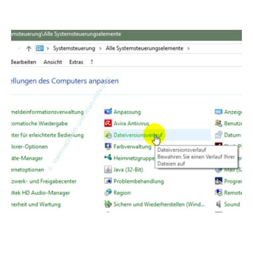 Windows 10 Dateiversionverlauf-Sicherung für das Speichern von Dateien nutzen – Der Menüpunkt Dateiversionsverlauf in der Systemsteuerung