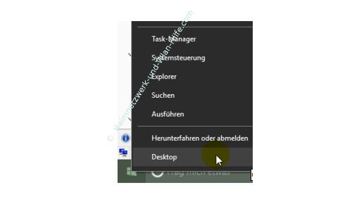 Windows 10 – Den Desktop anzeigen und den Bildschirm leeren – Befehl Desktop über das Kontextmenü des Startmenüs aufrufen