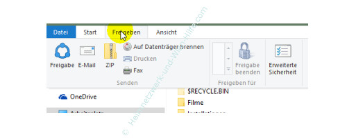 Die neuen Funktionen des neuen Windows 10 Explorers – Menü Freigeben