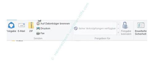 Windows 10 - Wichtige erste Anlaufstellen – Das Menü Freigeben des Windows Explorers