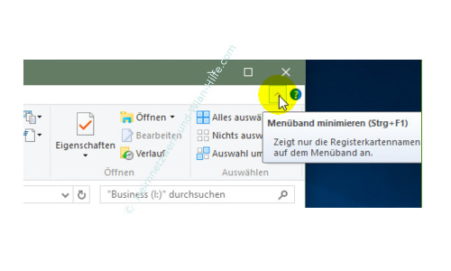 Die neuen Funktionen des neuen Windows 10 Explorers – Option Menüband minmieren